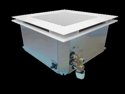 Coanda - Gebläsekonvektor als Kassettengerät mit Coanda-Efekt zur Montage in der Zwischendecke mit System aus 2 Rohren